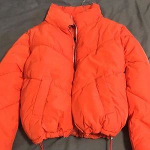 Winter Clothing NEON Orange Puffer Jacket